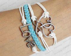 love Charm BraceletAntique Silver Wax Cords and by lifesunshine, $6.99