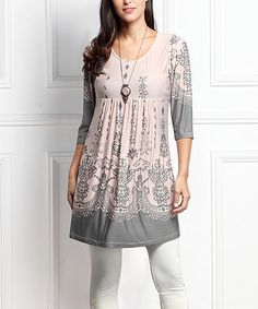 Look what I found on #zulily! Pink & Gray Border Empire-Waist Tunic - Plus Too #zulilyfinds
