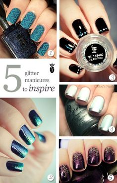 5 glitter nails to inspire #nailart