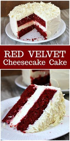 Red Velvet Cheesecake Cake - - A beautiful special occasion cake, this is two layers of red velvet cake with cheesecake in the middle. The whole cake is covered with cream cheese frosting. Köstliche Desserts, Delicious Desserts, Cinnamon Desserts, Ketogenic Desserts, Cheesecake Desserts, Chocolate Cheesecake, Ketogenic Diet, Mini Cakes, Cupcake Cakes