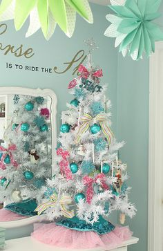 pretty aqua christmas tree i definitely need to get another tree to do an aqua