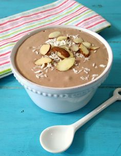 Almond Joy Breakfast Smoothie Bowl - A creamy, thick, gluten-free, healthy smoothie made with chocolate, coconut and almonds. It tastes just like an Almond Joy candy bar.