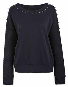 Black Spiked Embellishment Quilted Sleeve Sweatshirt - Sheinside.com