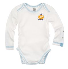 Posheez Snap'n Grow Long Sleeves Adjustable Bodysuit White With Blue Stitching  #baby #clothes #clothing #bodysuit #adjustable #onesie #newborn #preemie #blue #boy #organic #cotton #premium