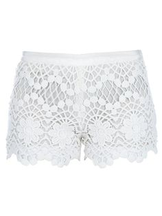 White cotton shorts from red Valentino featuring a lace detail top layer with a scalloped hem and a white solid white lining.