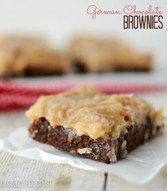 German Chocolate Brownies - a fudgy brownie topped with coconut pecan frosting! | crazyforcrust.com | #brownie #chocolateparty