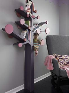 Lowe's provides an easy-to-follow pattern for this DIY book tree. Customize to fit any child's bedroom or playroom. Place small books and soft toys on limbs. Hang night cloths on pegs. Get step-by-step instructions for building this DIY bookshelf tree from Lowe's.
