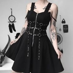 130ec53a508 Harajuku Vintage Retro Black Punk Metal Chain Zipper Spaghetti Strap Back Gothic  Dress Women Sexy Sleeveless Dress Dropship