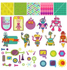 Funny robots theme - scrapbook design elements vector by woodhouse84 on VectorStock®