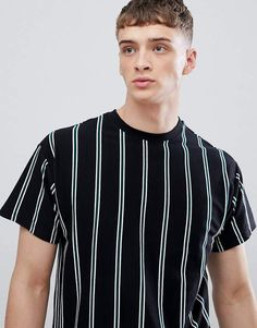 95c9b2f47541f New Look T-Shirt With Vertical Stripes In Black