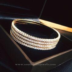 Simple Gold Diamond Bangles, Single Layer Diamond Bangle Designs.
