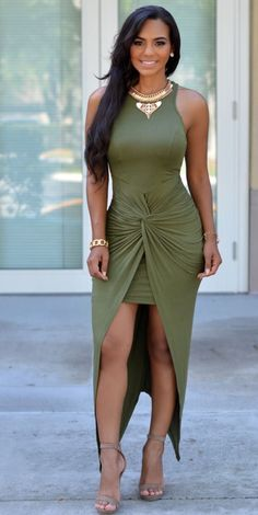Olive Dress | You can find this and many other looks at => http://feedproxy.google.com/~r/amazingoutfits/~3/hvU7s6hXdRA/AmazingOutfits.page
