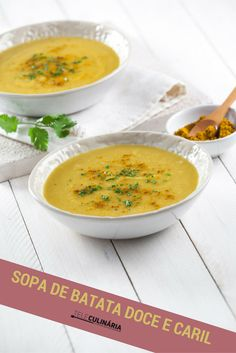 Para os fãs de batata doce, e que tal uma sopa mais saudável com esta batata tão boa? :) Experimentem esta receita de sopa de batata doce e tenha uma refeição deliciosa! Veja como se prepara aqui: http://www.teleculinaria.pt/receitas/sopa-de-batata-doce-caril/ #teleculinaria #teleculinária #receitas #sopas #comida #batatadoce #caril #ideiasparajantar #jantar #almoço #food #recipes #soup #sweetpotato #foodpictures