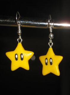 Super Mario Invincibility Star - Polymer Clay Earrings - Nintendo