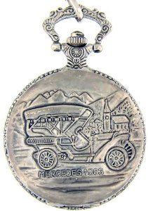 "Mercedes Geneva Pocket Watch -Silver Tone Pocket Watch with 14"" Clip on Chain Geneva Watch. $19.95"