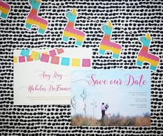 Oh Happy Day Wedding Invitations - Hoopla House Wedding Invitations - Fiesta Wedding - Cinco De Mayo Wedding - Bright Wedding - Mexican Wedding - Mexican Flags Invitation #FiestaWedding #CincodeMayoWedding