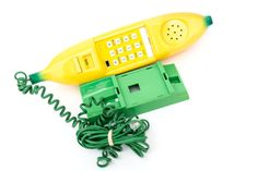 Vintage 80s Banana Phone - Banana Telephone with Stand - Retro Novelty Phone -Yellow Banana with Green Cord and Wall Stand Telephone  Hard to