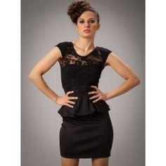 Vestido Negro Peplum Irina MS655