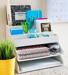 Office Organization Rack - Desk Organization - Home Office Decor - Office Decor Home Office Organization, Organization Hacks, Organizing Clutter, Office Storage, Desk Office, Stationary Organization, Organising, Organizing Ideas For Office, Desk Storage
