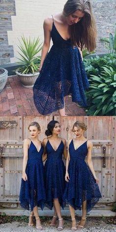 Bridesmaid Dresses, Stylish Navy Blue Tea Length Sexy V-Neck Bridesmaid Dresses,201707202