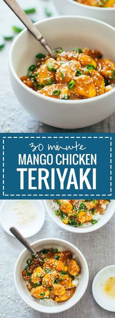 30-Minute Sesame Mango Chicken Teriyaki made with whole, natural ingredients and without refined sugar or cornstarch. Super quick and easy!