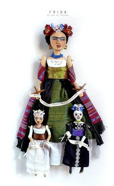 Art Doll Frida and Marionettes (vida y muertre) by du_buh_du_designs, via Flickr