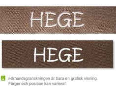 Ljusbrun bandfärg och vit textfärg http://labelsandribbon.se/vavda-namnband-namnlappar-etiketter/standard