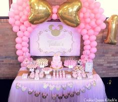 ideas for baby shower ideas pink minnie mouse Minnie Mouse Party Decorations, Minnie Mouse Theme Party, Minnie Mouse First Birthday, Baby Girl 1st Birthday, Minnie Mouse Pink, Birthday Party Decorations, Birthday Parties, Minie Mouse Party, Mickey Birthday