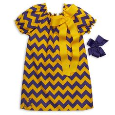 Girls Purple Gold Chevron Dress