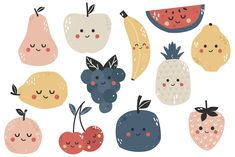 Fruit Poster Patterns 25 Ideas For 2019 Spot Illustration, Food Illustrations, Stickers Kawaii, Cute Stickers, Fruit Logo, Posca Art, Cute Fruit, Cute Poster, Poster Poster