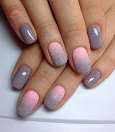 10 Fabulous Ombre Nail Art Designs: #5. Pink and Grey Glitter Ombre