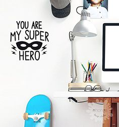 Hero Wall Decal  You Are My Super Hero  Letter Wall Decal  Kids Room Decor  quotes  Custom  removable decals  nursery  gift -- Read more reviews of the product by visiting the link on the image. (Note:Amazon affiliate link)