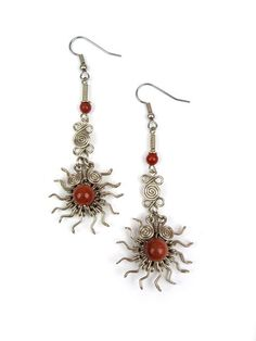 "Wire Wrap Earring ""Pinwheel"" – Wari Designs"