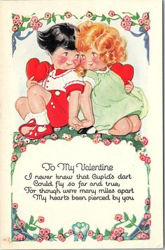 Postcard To My Valentine Boy Girl Holding Red Hearts Embossed U11 | eBay
