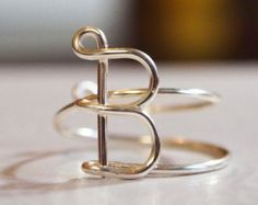 "initial ""B"" wire wrapped ring"