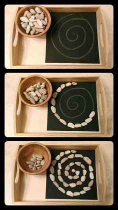 Cool Montessori work! Practical life shelf? #montessori #practicallife #pattern #rocks #mamaofdrama