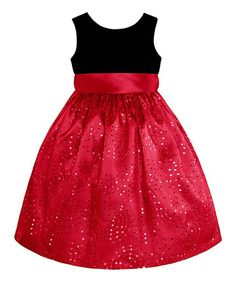 Take a look at this Black & Red Sequin A-Line Dress - Girls by American Princess on #zulily today!