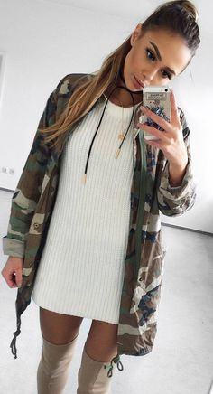 cute outfit idea : khaki jacket + sweater dress + nude over the knee boots