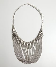 Leslie Danzis silver draped chain and spike necklace   BLUEFLY up to 70% off designer brands