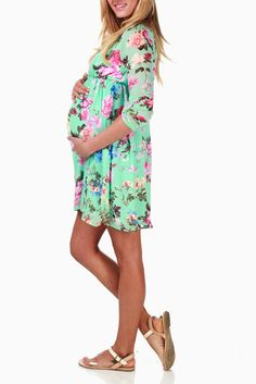 Mint-Green-Floral-Chiffon-Maternity-Dress - $39 **Bought this for my baby shower, LOVE IT!**