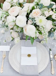 romantic wedding place setting pink and grey with gold wax seal Ashley Rae Photography