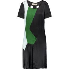 Marni Cutout charmeuse dress (€225) ❤ liked on Polyvore featuring dresses, forest green, forest green dress, cutout back dresses, cut-out back dresses, cut out dresses and cut out back dress