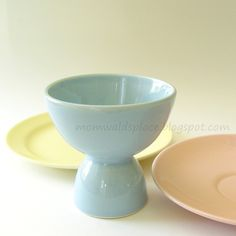 vintage Lu Ray egg cup in windsor blue (with bread & butter plate & saucer)