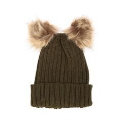 Womens Double Faux Fur Pom Pom Beanie Hat (€8,06) ❤ liked on Polyvore featuring accessories, hats, wide hat, faux fur hat, pom pom hat, pom pom beanie and fake fur hats