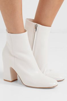 Gianvito Rossi - Leather Ankle Boots - White - IT40.5