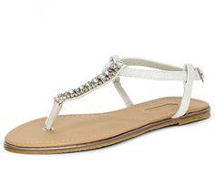 Dorothy Perkins White bling t-bar sandals