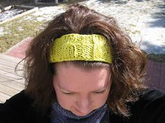 """I found this pattern on Ravelry called """"Cool Cotton Headband"""". I knit it up and it took 27 yards (15 grams) of cotton! A perfect use for those left over balls of yarn from knitting washcloths. This is a free pattern on Ravelry and I was able to knit it up in about an hour"""