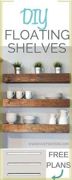 Learn how to build floating shelves. These DIY floating shelves would look perfect in any room. Download the FREE PLANS! #WoodworkingFurniturePopularMechanics How To Make Floating Shelves, Industrial Floating Shelves, Floating Shelves Bathroom, Shelves In Bedroom, Diy Living Room Furniture, Diy Home Decor Bedroom, Diy Furniture Plans, Furniture Storage, Woodworking Furniture