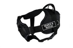 Dean & Tyler Fun Harness with Padded Chest Piece, Search and Rescue, Large, Black with Reflective Trim