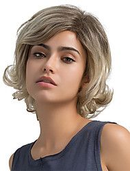 Fluffy skråkant frynse kort hår ombre farge menneske hår parykker